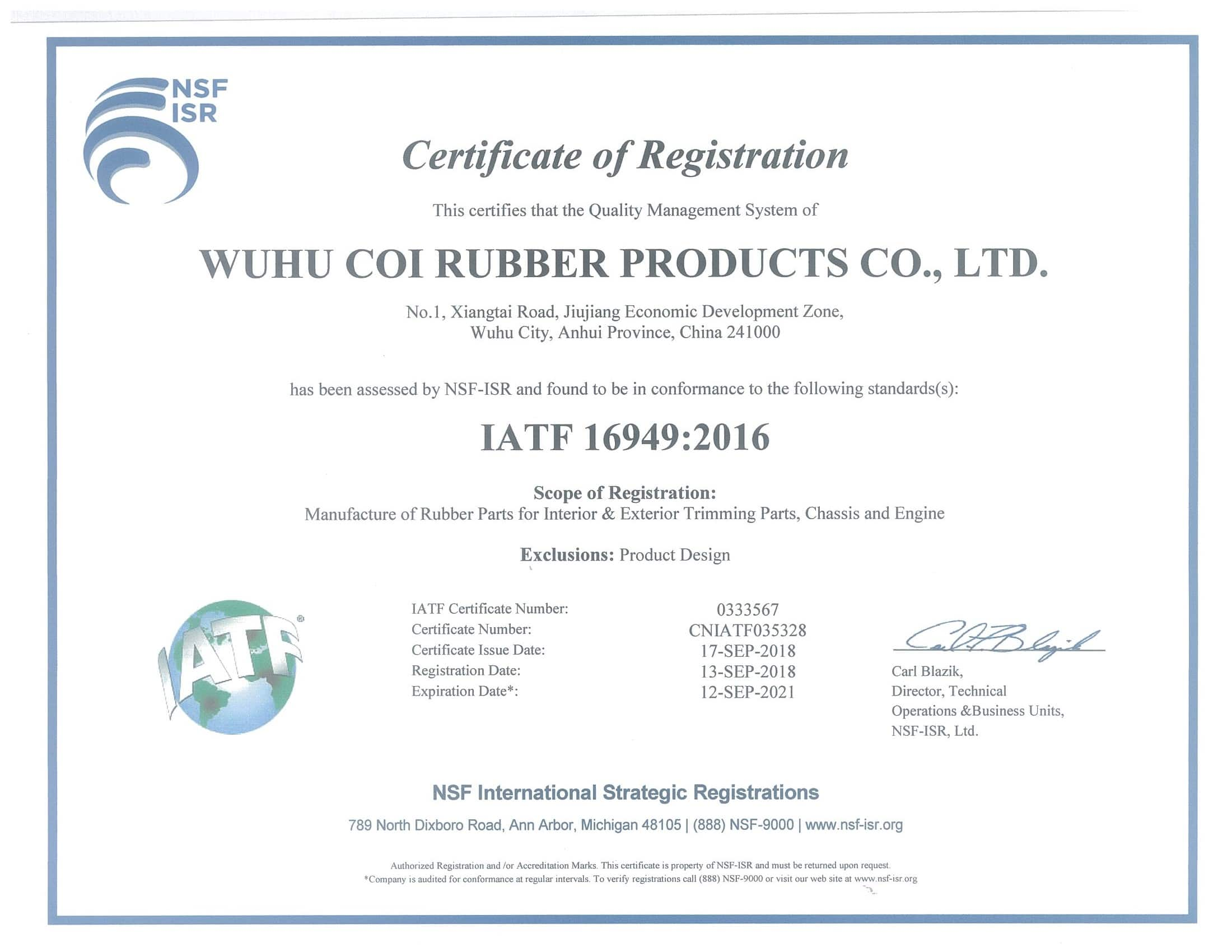 RMA Tolerances - Coi Rubber Products ® Call Now & Let Coi